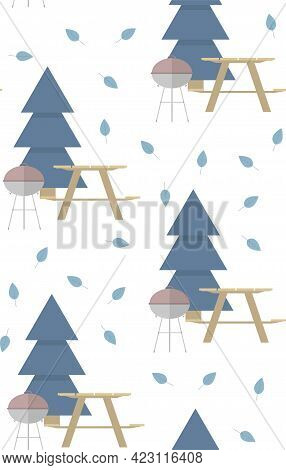 Seamless Vector Pattern With Barbeque, Wooden Table, Bench, Leaves And Fir Tree On A White Backgroun