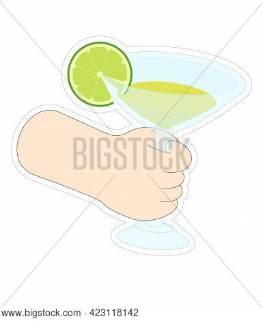 Margarita Cocktail With Lime In A Hand