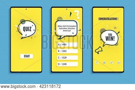 Quiz Online Game Interface In Paper Cut Style. Yellow And Black Color Trivia Mobile App Papercut Art