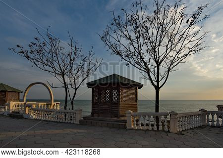 Russia. Republic Of Dagestan. Early Sunny Morning On The Deserted City Embankment Of Makhachkala.
