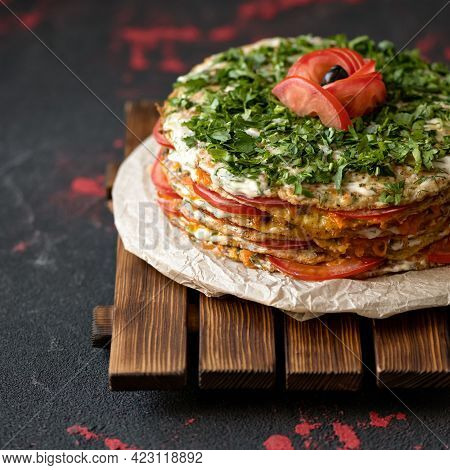 Vegetable Festive Dish. Zucchini Cake With Tomatoes. Stacked In Layers Zucchini Pancakes Decorated W