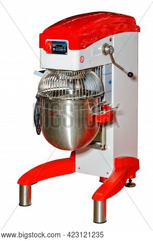 The Industrial Planetary Mixer Made Of Stainless Steel Combines A Solid Concept. Vertical Image, Iso