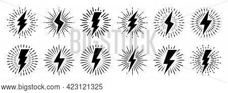 Set Of Vintage Lightning Bolts And Sun Rays Isolated On White Background. Lightnings With Sunburst E