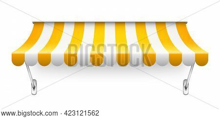 Shop Sunshade With Metal Mount. Realistic Yellow Striped Cafe Awning. Outdoor Market Tent. Roof Cano