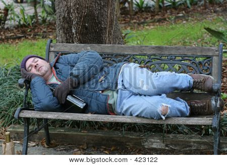 Homeless Man On Bench - Full View