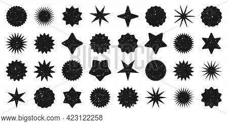 Retro Stars, Grunge Sunburst Symbols. Vintage Sunbeam Icons. Black Shopping Labels, Sale Or Discount