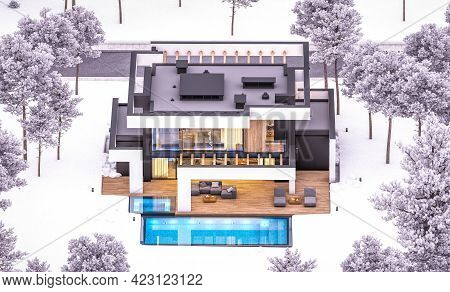 3D Rendering Of Modern House In Luxurious Style In Winter Evening