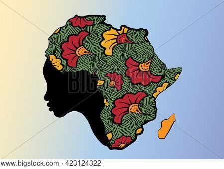 Concept Of African Woman, Face Profile Silhouette With Turban In The Shape Of A Map Of Africa. Color