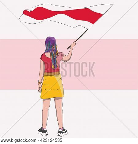 A Girl With Multi-colored Hair With A Red-white Belarusian Flag.