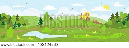 Agriculture. The Tractor Plows The Land. Rural Landscape With Hills, Forest, Field And Pond. Hand Dr
