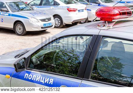 Samara, Russia - June 2, 2021: Russian Police Patrol Cars Of The State Automobile Inspectorate Parke