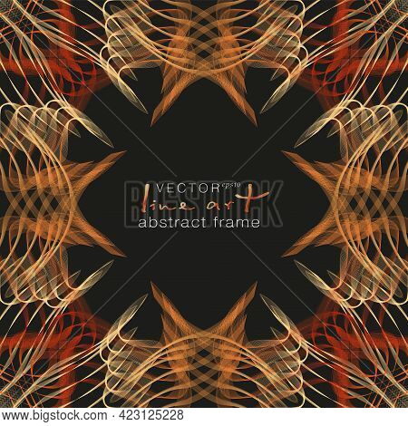 Yellow, Orange, Red Ornamental Frame, Line Art Pattern. Squiggle Border With Stylized Ethnic Motif.