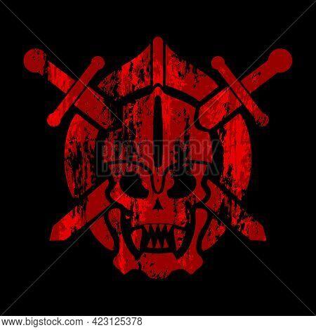 Skull In Helmet Symbol, Shield And Swords. Grung Background With Skull. Vector Illustration