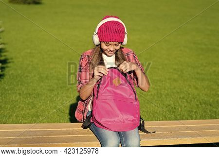 For Every Occasion. Little Girl Open Travel Bag. Fashion Accessory. Small Kid Listen To Music Playin
