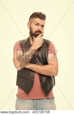 Think Different Way. Styling Beard And Moustache. Fashion Trend Beard Grooming. Thoughtful Man Make