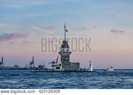 Maiden's Tower, Probably Most Known Island Of Bosphorus Strait In Istanbul, Turkey. Once It Was Used