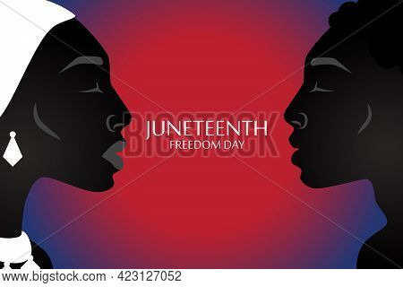 Silhouette Of African American Woman And Man With Headdress With Juneteenth Flag Pattern.