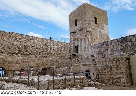 Walls & Tower Of Island Medieval Fortress Kizkalesi, Town Kizkalesi, Turkey. It Was Founded In Ancie