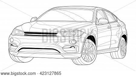 Coloring Page Line Art For Book. Car Vector Illustration. Black Contour Sketch Illustrate Isolated O