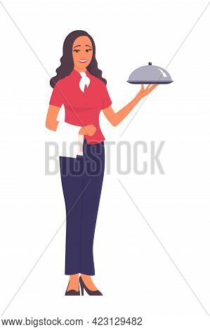 A Beautiful Girl Waiter Stands On White Background