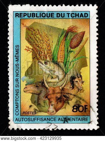 Chad - Circa 1982: Chad Postage Stamp About Animals. Flora And Fauna On Postage Stamp. Vintage Stamp