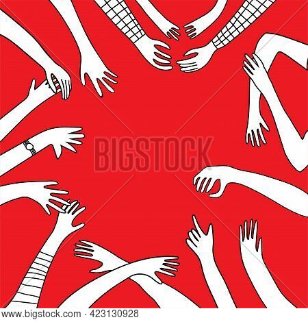 White Silhouettes Hands In Different Gestures In Freehand Doodle Style With Copy Space On Red Backgr