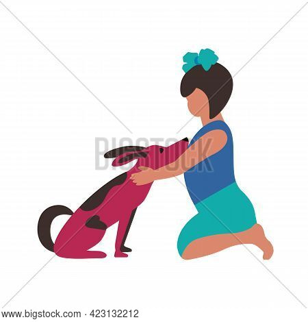 Small Girl Hugs Pet Puppy Flat Color Vector Icon. Cute Little Girl, Dog Together Cartoon Design Elem