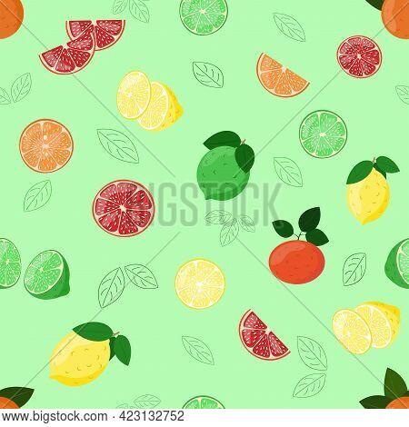 Citrus Fruits Pattern. Lemon, Tangerine, Orange, Lime And Grapefruit Slices In Cut. Vector Seamless