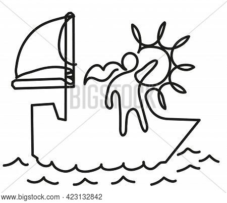 One Line Drawing Of Happy Woman On Sailboat. One Continuous Line Drawing Of Happy Cheerful Woman Hav