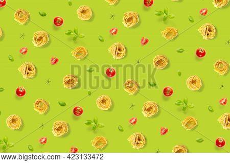 Pop Art Background From Italian Pasta Tagliatelle. Raw Pasta Fettuccine Pop Art Background, Flat Lay