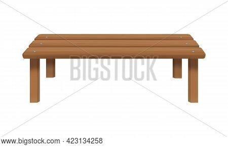Wooden Bench Without Back Isolated On White Background. Outdoor Sitting Furniture For Patio, Porch,