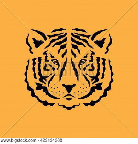 Tiger Icon Head Silhouette, Tiger- Simbol 2022 Year. Vector Flat Illustration In Cartoon Style.