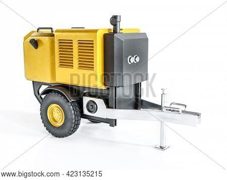 3D rendering of mobile Diesel generator on white background