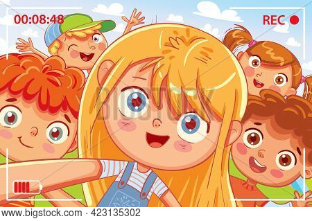 Group Of Friends Taking A Selfie And Laughing. Children Shoot Myself On Smartphone. Kids Fooling Aro