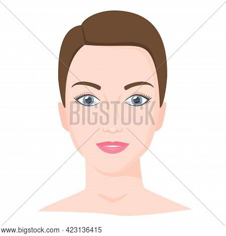 Young Woman Face With Shot Haircut. Female Portrait Of Brunette In Flat Style. Natural Beauty. Front