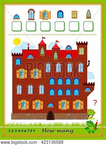 Math Education For Children. Count Quantity Of Windows And Write Numbers. Developing Counting Skills