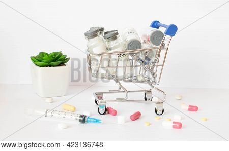 Drug Prescription For Treatment Medication. Pharmaceutical Medicament, Cure In Container For Health.