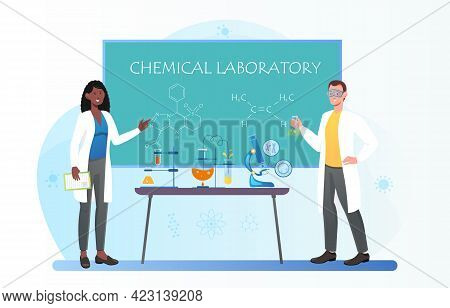 Female Chemistry Teacher And Student In Safety Goggles Doing Experiments At Laboratory. Doing Resear