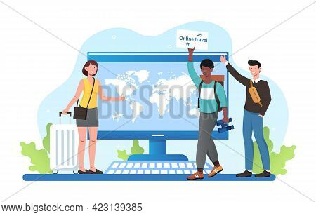 Young Male And Female Characters Are Travelling Online During Pandemic. Smiling Men And Woman With L
