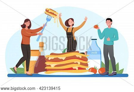 Smiling Young Male And Female Characters Enjoing Tasty Lasagna Together. Italian Delicious Cuisine O