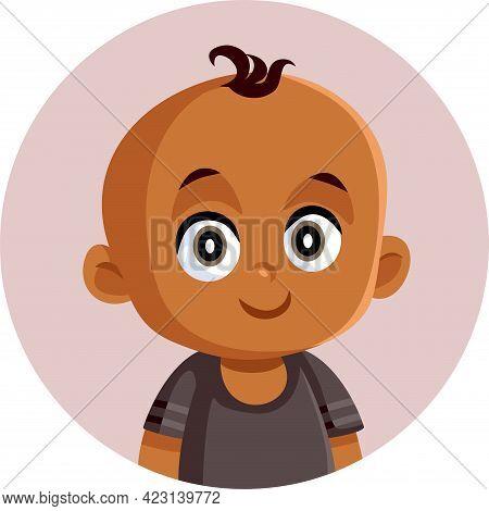 African Little Baby Vector Funny Cartoon Illustration