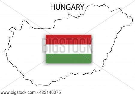 White Map Hungary Flag. World Map Icon. Silhouette Map. Vector Illustration. Stock Image.