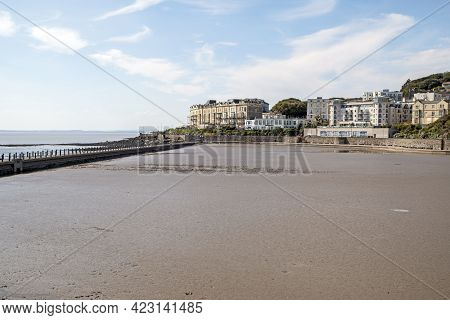 Weston-super-mare, Uk - June 1, 2021: The Marine Lake Drained To Allow The Removal Of Mud Accumulate