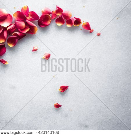 Rose Petals On Marble Background, Floral Decor And Wedding Flatlay, Holiday Greeting Card Backdrop F
