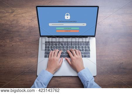 Person Using Access Window To Log In Entering Password On Laptop, Sign Up Username Password Enter Lo