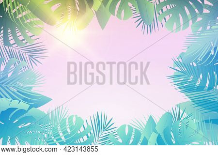 Tropical Green Leaves Palm, Monsteras With White Round Banner With Text.