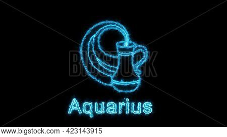 The Aquarius Zodiac Symbol, Horoscope Sign Lighting Effect Blue Neon Glow. Royalty High-quality Free