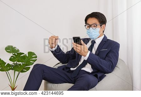 Asian Financial Advisor Wear Face Mask And Glasses Success With Customer Dealing In Home Cafe Office