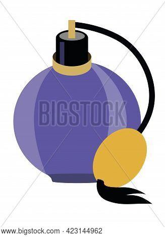 Bottle Of Perfume Isolated On White. Vector Flat Illustration