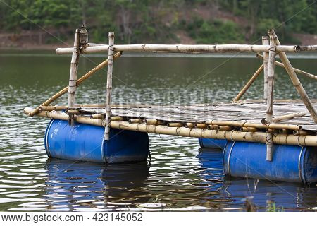 Raft Made From Bamboo And Plastic Bags Use Of Natural Materials Combined With Recycled Materials To